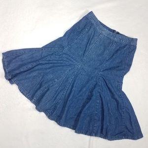 Tommy Hilfiger Denim Flare Skirt Vintage